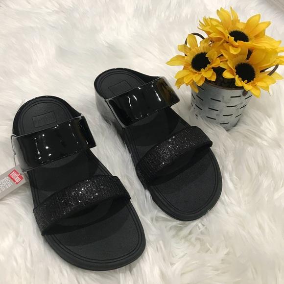 2da7996dcc7 Fitflop Lulu Super glitz Slide Black Sandal